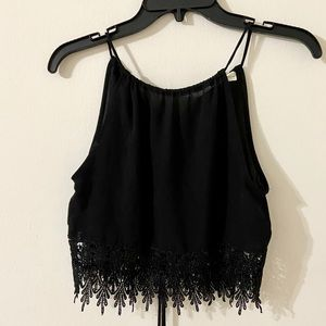 Black High-Neck Crop Too With Lace Midriff